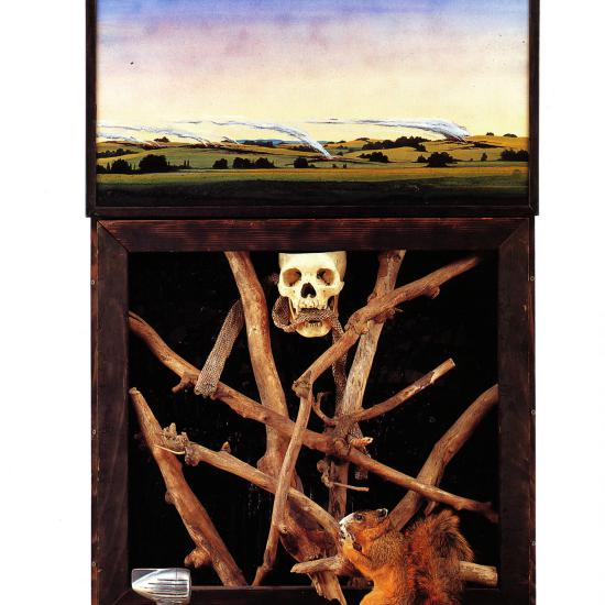 He'll Set Your Fields on Fire  Mixed media construction 58x34x12 © 1995