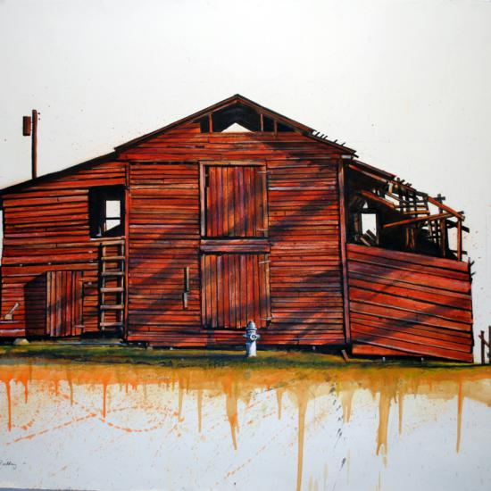 Defunct Agri Building 42x58  Oil dry pigment on paper
