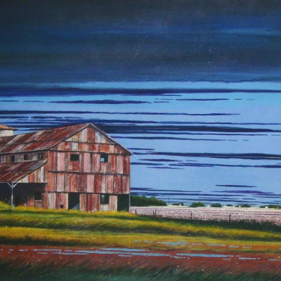 Defunct Cotton Gin and Field 18x52  Oil on paper