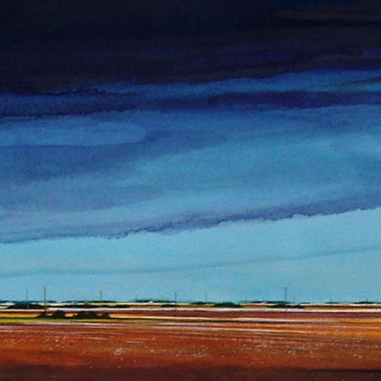 Flat Out Down Wind 22x79  Oil and dry pigment on paper