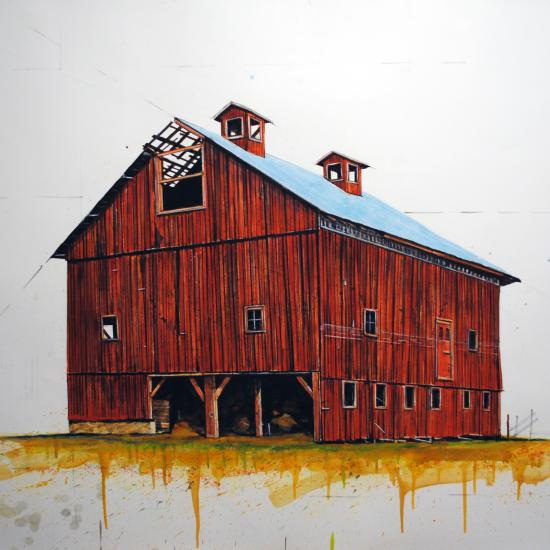 Woodberry Red Barn 42x51  Oil and dry pigment on paper