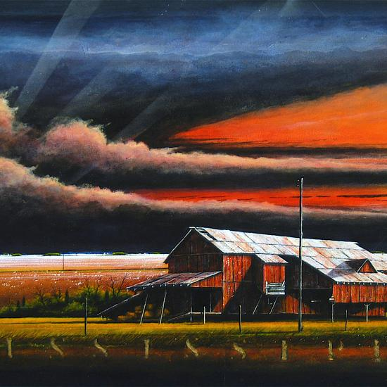 Bull Barn Storm, polymer paint on canvas 34x72