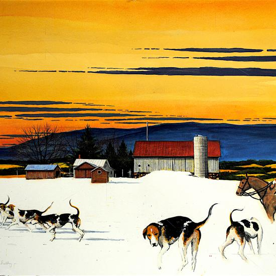 Dog Trot Agri Bldg, oil and dry pigment on paper 34x47