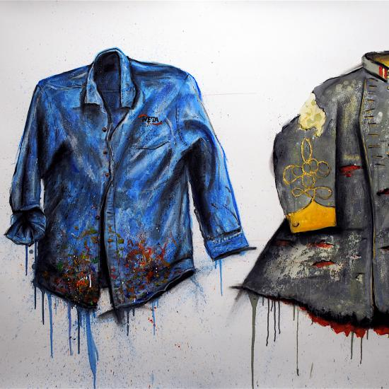 Double Workshirt, oil and dry pigment on paper 42x38