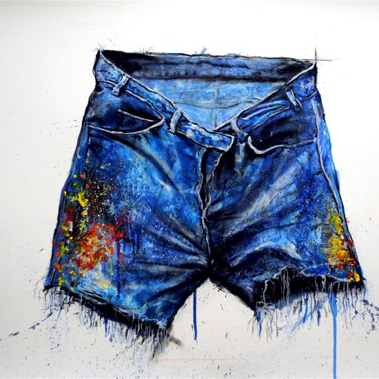 Painter's Pants-Cut Off, oil and dry pigment on paper 26x42