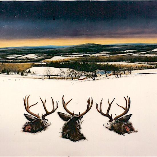 Three Deer Head for Antietam, oil and dry pigment on paper 48x96